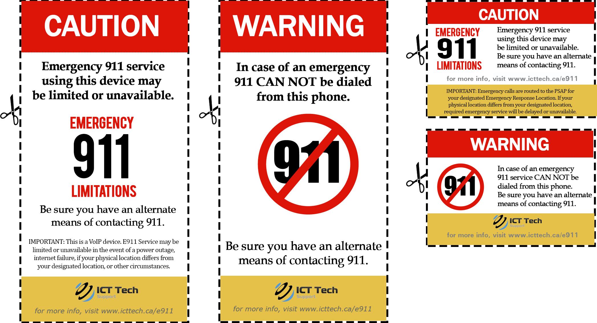 ICT e911 Caution Stickers